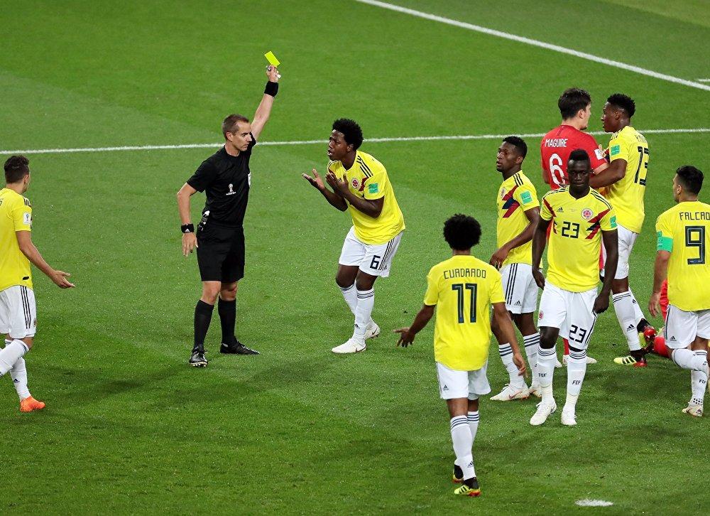 Seleção da Colômbia durante jogo contra Inglaterra