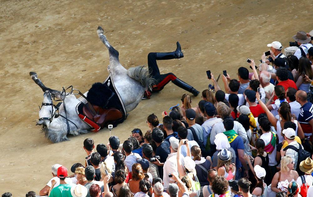 Carabineiro italiano caindo do cavalo durante o desfile que precede o início da corrida de cavalos Palio of Siena