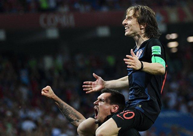 Luka Modric comemora a classificação da Croácia.