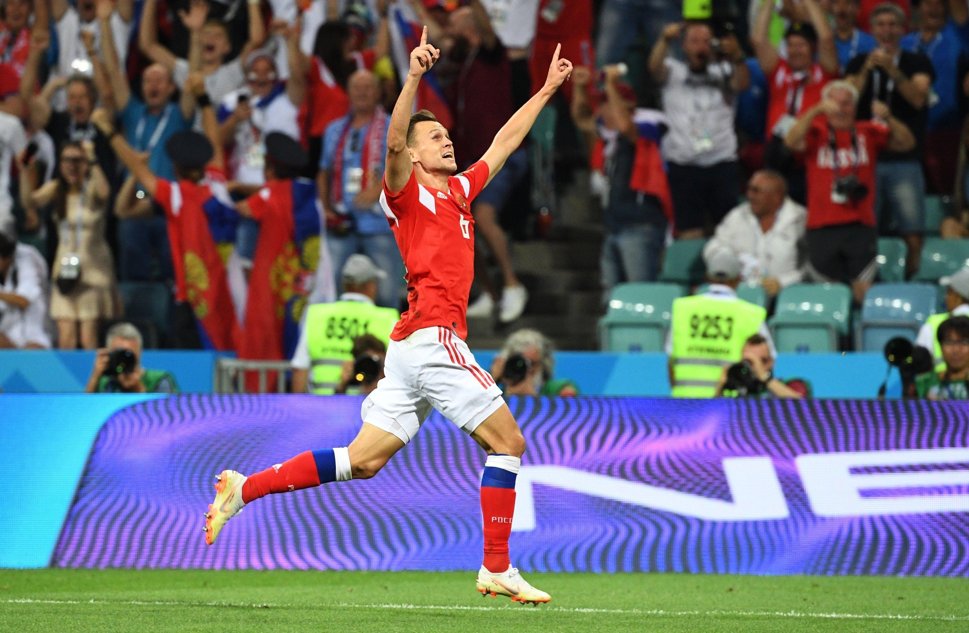 Denis Cheryshev comemora seu gol contra a Croácia.