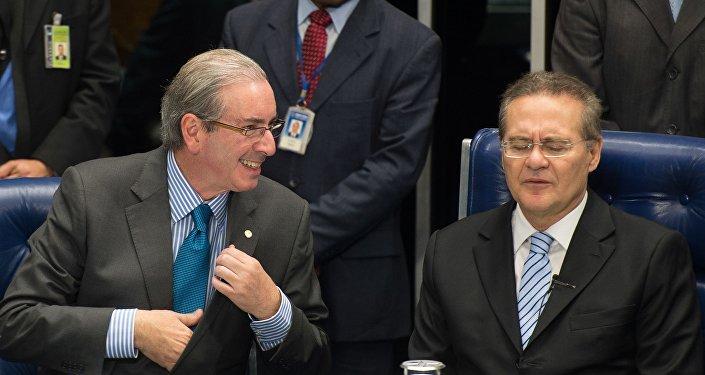 Eduardo Cunha, presidente da Câmara dos Deputados, e Renan Calheiros, presidente do Senado.