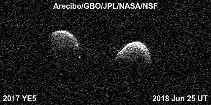Imagens do asteroide binário 2017 YE5 captadas pelo Observatório de Arecibo e pelo Observatório de Green Bank