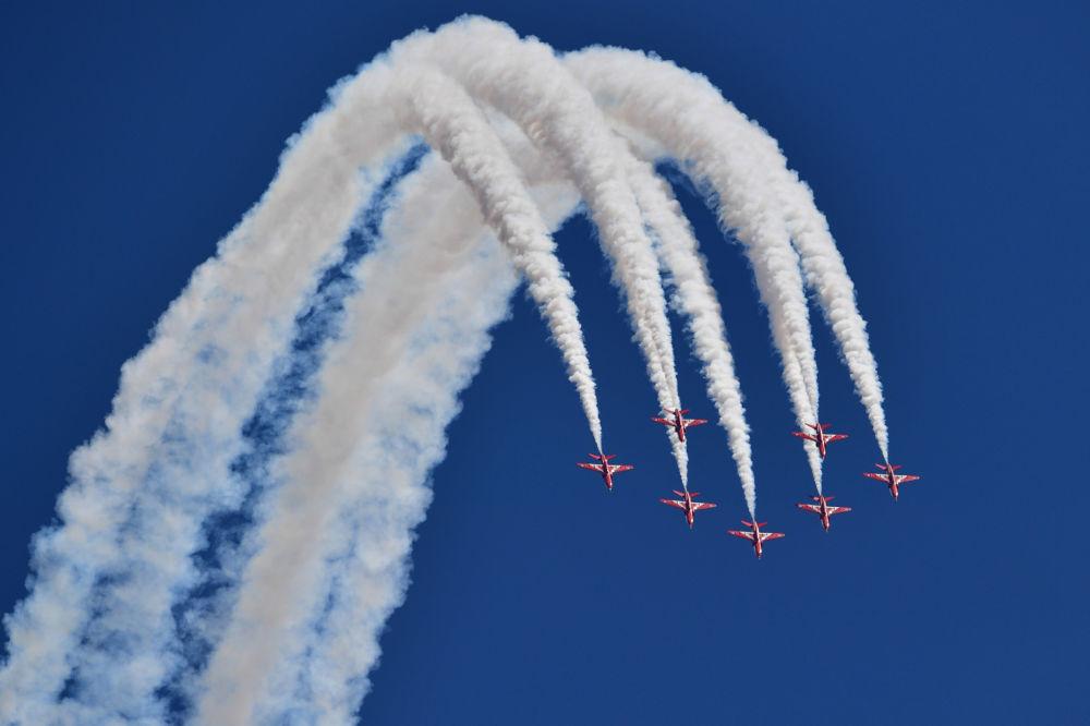 Aviões da Força Aérea Real do Reino Unido se apresentam durante uma das etapas da Fórmula 1, em Silverstone