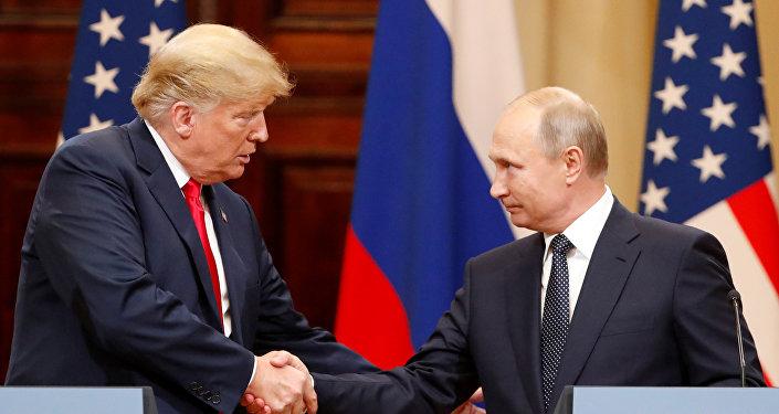 Presidente dos Estados Unidos, Donald Trump, durante coletiva de imprensa com seu homólogo russo, Vladimir Putin