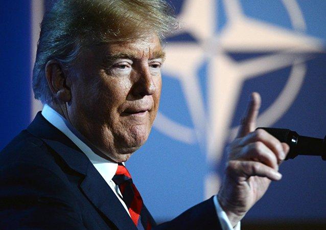Presidente dos EUA Donald Trump durante a cúpula da OTAN em Bruxelas