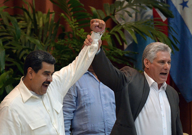 Líderes de Venezuela e Cuba, Nicolás Maduro e Miguel Díaz-Canel, durante o 24º Encontro do Foro de São Paulo, em Havana