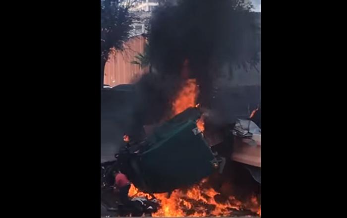 Homem escapa milagrosamente de caminhão devorado pelo fogo