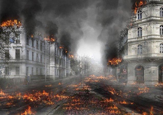 Edifícios em chamas (imagem referencial)