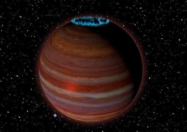 Representação artística do planeta SIMP J01365663+0933473