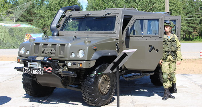 Veículo blindado Rys na exposição dos armamentos durante o concurso Desantny Vzvod (Pilotão de Desembarque), em Pskov