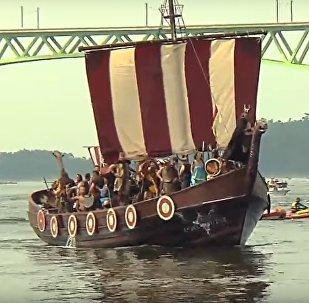 Festival de Romaria Viking em Catoira, Espanha; agosto de 2018