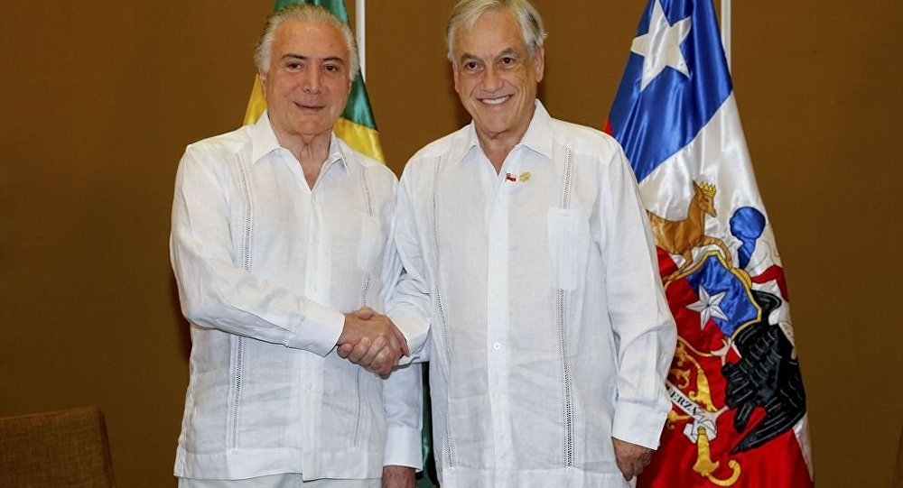 Presidente Michel Temer durante reunião com Sebástian Piñera, presidente do Chile