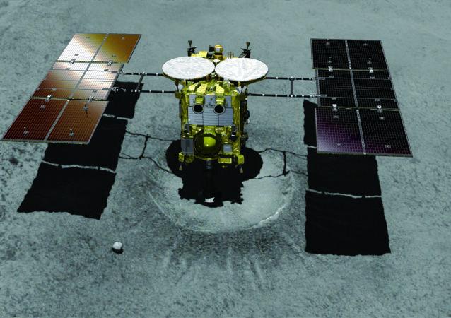 Sonda japonesa Hayabusa-2 se aproximando da cratera do asteroide (ilustração)