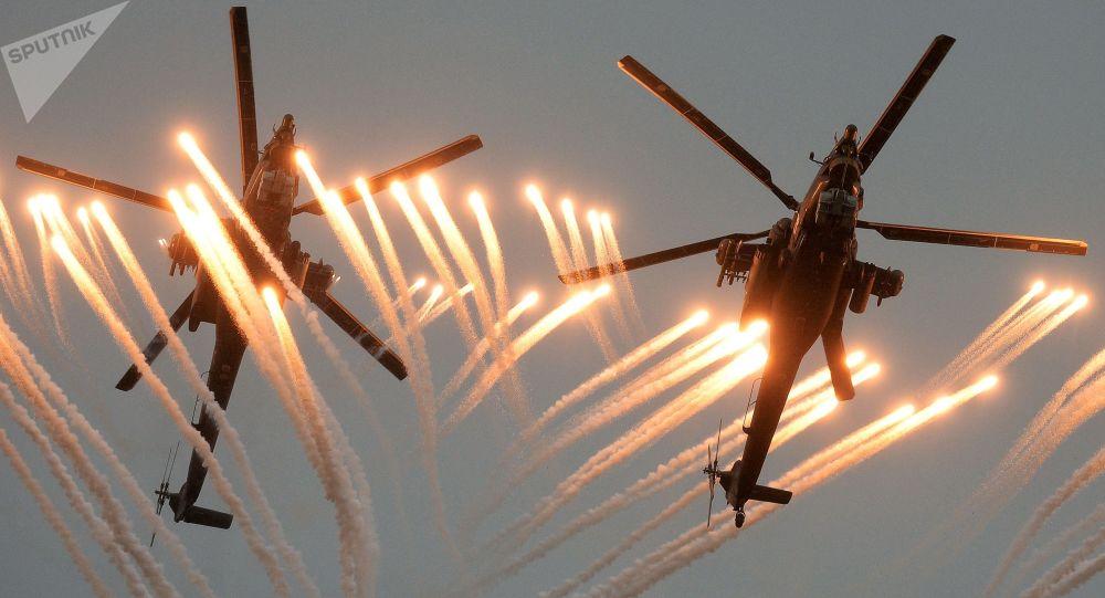 Helicópteros Mi-28 Caçador Noturno nas competições entre pilotos militares Aviadarts 2016 (imagem referencial)