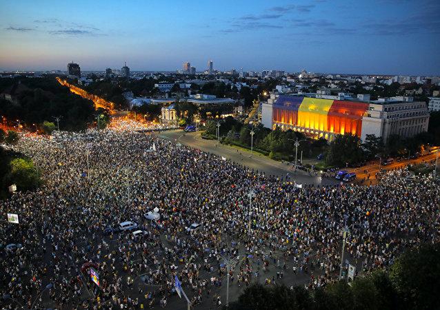 Protesto em Bucareste, na Romênia.