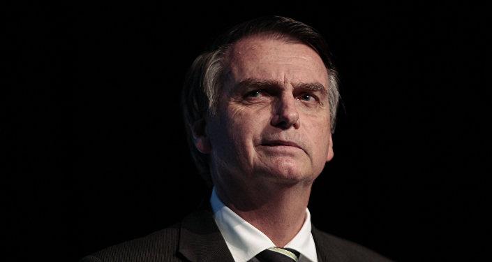 Deputado federal Jair Bolsonaro (PSL), pré-candidato à presidência do Brasil em 2018, durante evento da União da Indústria de Cana-de-Açúcar (Unica) em São Paulo