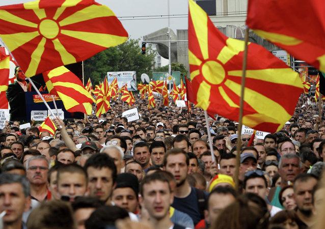 Protestos contra o governo na Macedônia