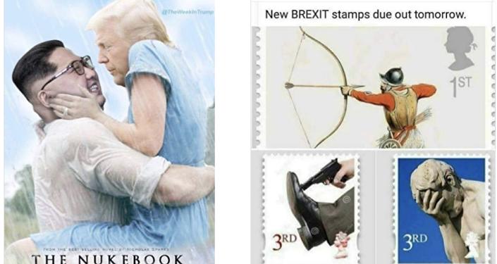 Posts de uma das páginas removidas pelo Facebook mostram uma paródia do filme Diário de uma Paixão (The Notebook, no original em inglês) com o presidente dos EUA, Donald Trump e o líder norte-coreano Kim Jong-un. O título foi alterado para A Bomba (The Nuke). Ao lado, outro post faz piada sobre o Brexit, anunciando novos selos para comemorar a saída da UE.