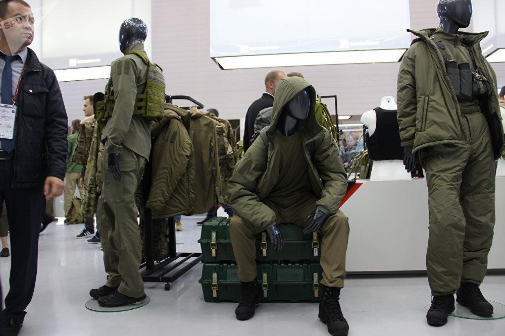 Equipamento de uso pessoal do consórcio Kalashnikov é mostrado durante o fórum militar EXÉRCITO 2018