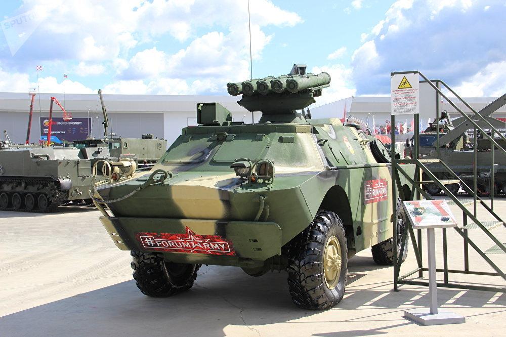 Veículo militar Konkurs com sistema antitanque é mostrado durante o fórum militar EXÉRCITO 2018