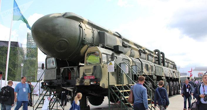 Míssil balístico intercontinental Topol-M é mostrado durante o fórum militar EXÉRCITO 2018