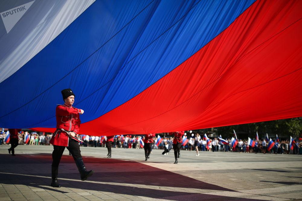 Celebrações do Dia da Bandeira Nacional da Rússia na cidade de Krasnodar