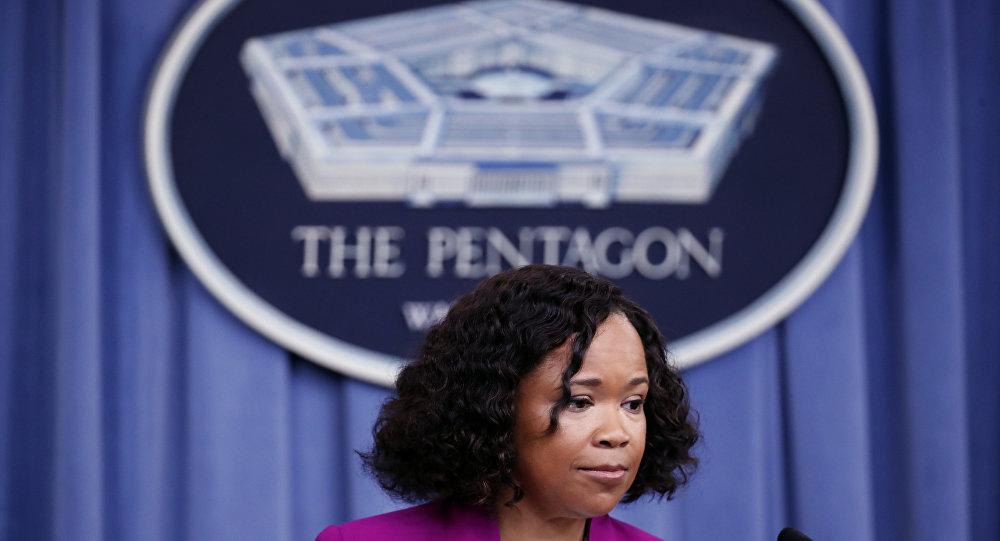 Dana W. White, a porta-voz do Pentágono, durante comunicado na sede da instituição em Washington.