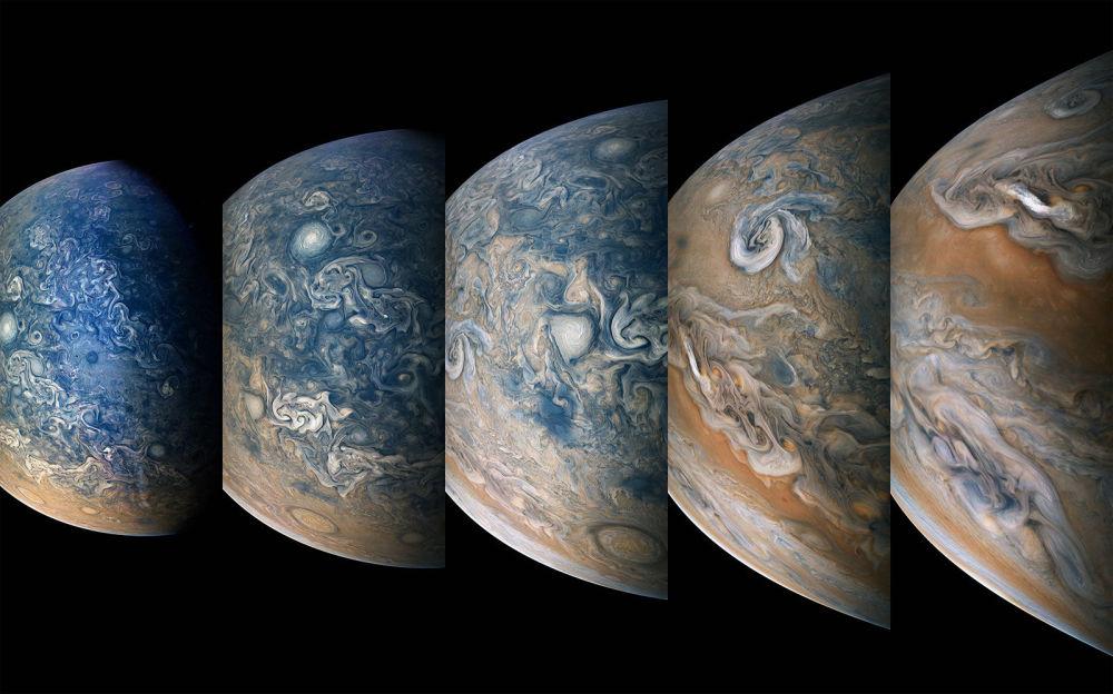 Polo norte de Júpiter, filmado pela sonda Juno