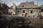 Povoado de Gorlivka, em Donetsk, após ataque realizado por militares ucranianos