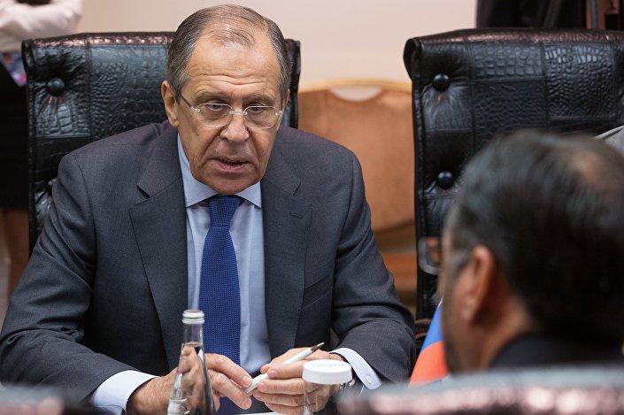 Chanceler russo Sergei Lavrov durante a conferência Segurança, Estabilidade e Futuro Comum para a Região da OCX