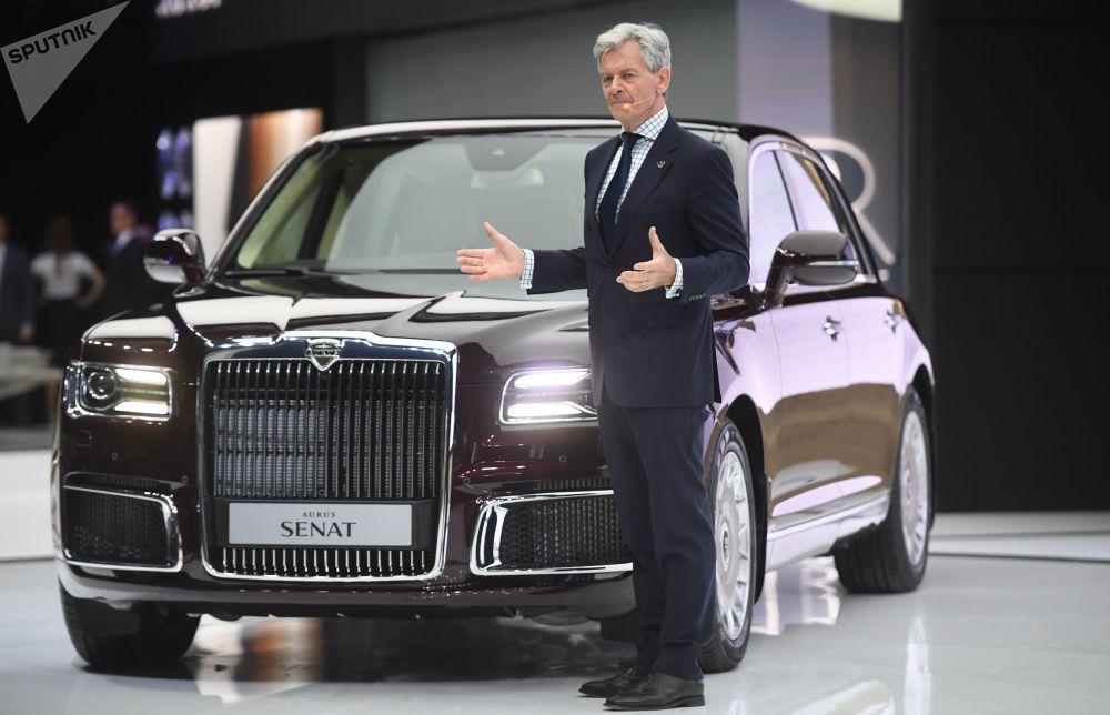 Diretor executivo da empresa Aurus, Hilgert Franz Gerhard, participa do Salão Internacional de Automóveis de Moscou 2018