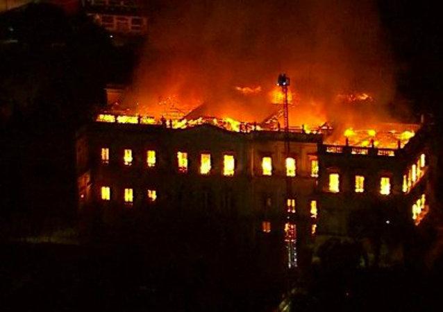 Museu Nacional do Rio de Janeiro em chamas, 02 de setembro de 2018