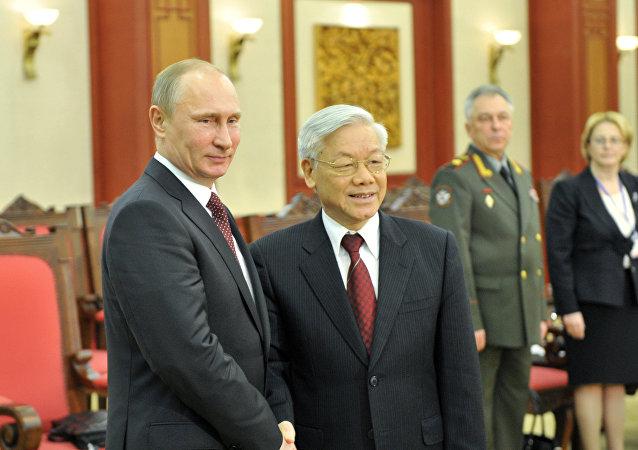Presidente de Rusia, Vladímir Putin, y secretario general de Comité Central del Partido Comunista de Vietnam, Nguyen Phu Trong