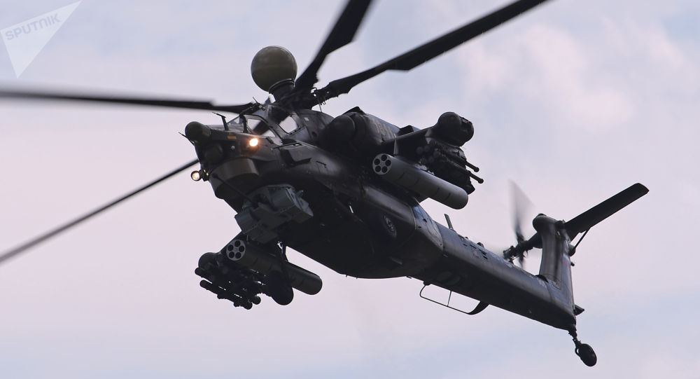 Helicóptero de combate Mi-28NM durante o salão MAKS-2017, no polígono de Zhukovsky