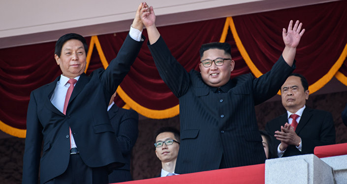 Kim Jong-un durante a celebração do 70º aniversário da fundação da Coreia do Norte