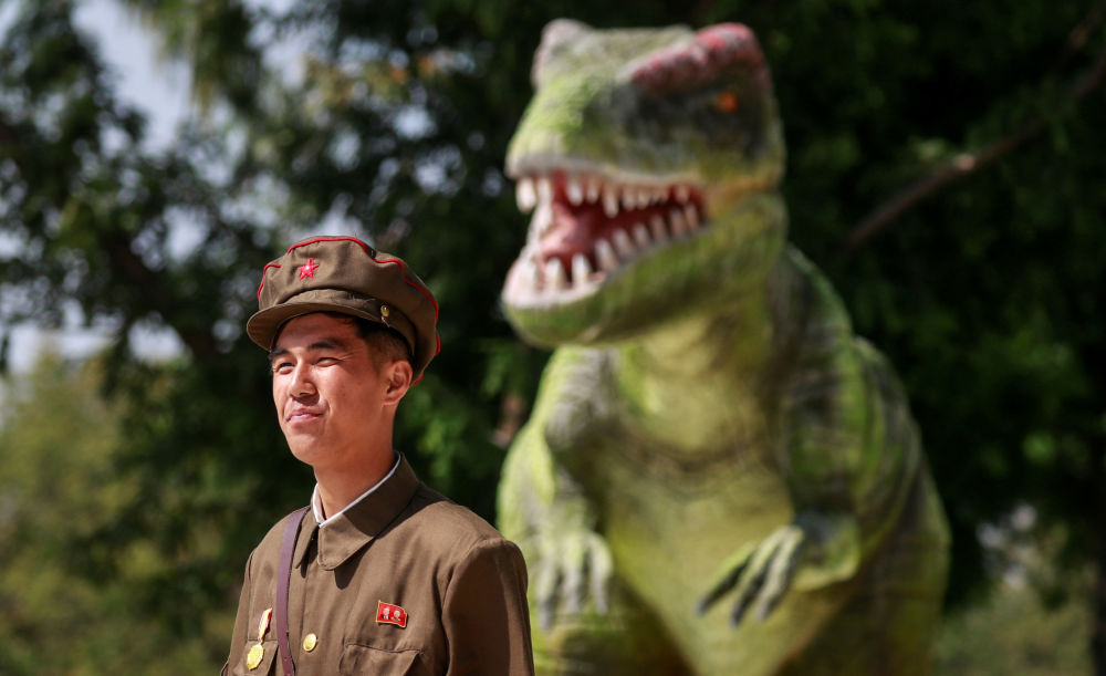 Militar perto do Museu de História Natural em Pyongyang