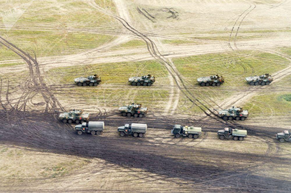 Polígono Tsugol, na região russa de Transbaikal, durante as manobras militares Vostok 2018