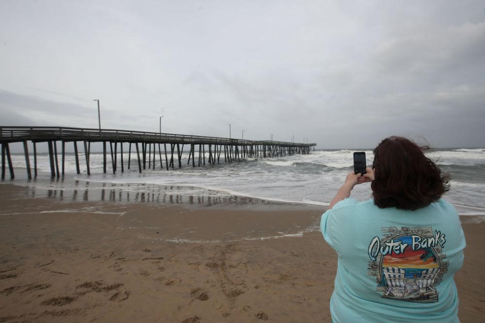 Antes da chegada do furacão Florence, Virginia Beach, estado de Virginia