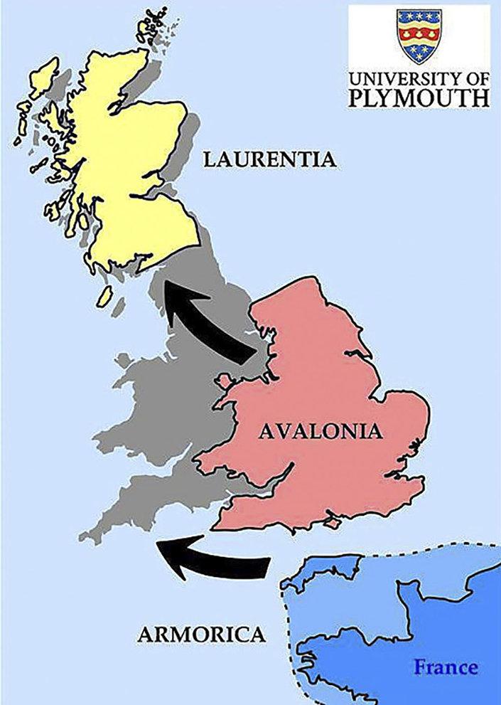 Mapa mostrando como, segundo os pesquisadores, as ilhas Britânicas poderiam ter sido formadas