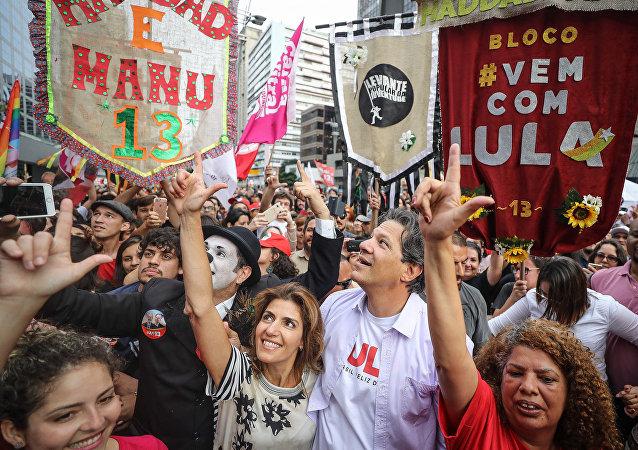 Fernando Haddad, candidato a presidente pelo PT, durante participação no Festival Lula Livre, em São Paulo
