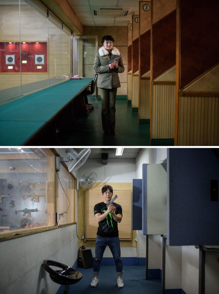 Instrutores de tiro norte-coreana em Pyongyang (acima) e sul-coreano em Seul (abaixo)