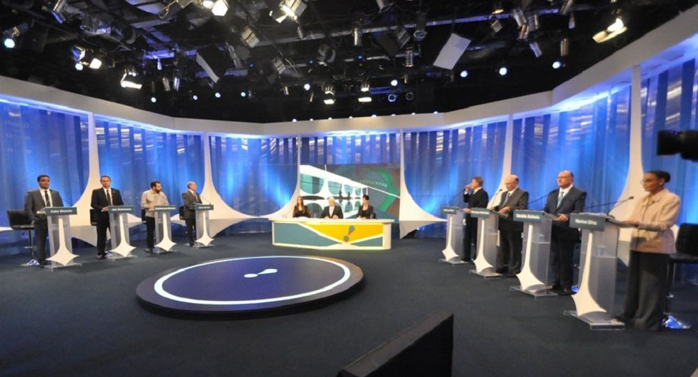 Candidatos a presidente do Brasil participam de debate na RedeTV! em 17 de agosto de 2018