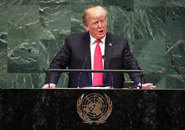 O presidente dos EUA, Donald Trump, discursa na Assembleia Geral da ONU, em 25 de setembro de 2018