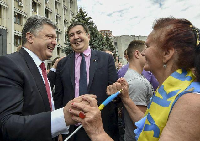 Presidente da Ucrânia, Pyotr Poroshenko, e novo governador da região de Odessa, o georgiano Mikheil Saakashvili