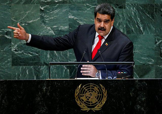 Nicolás Maduro, presidente da Venezuela, durante seu discurso na 73ª Assembleia Geral da ONU, em 26 de setembro de 2018.