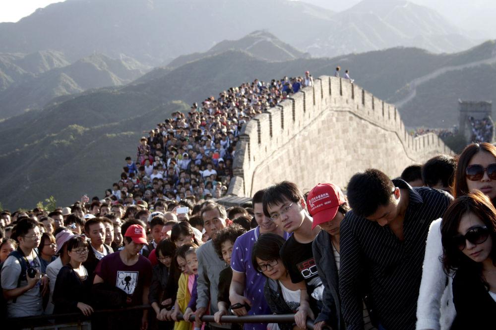 Turistas na grande Muralha da China