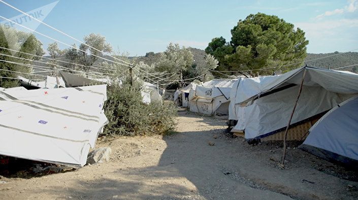 Tendas no campo de Moria