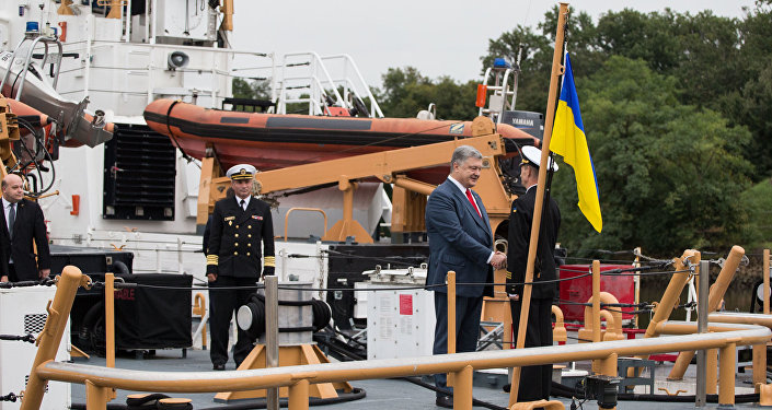 O presidente da Ucrânia, Pyotr Poroshenko, na cerimônia de entrega a Kiev de duas lanchas dos EUA em Baltimore