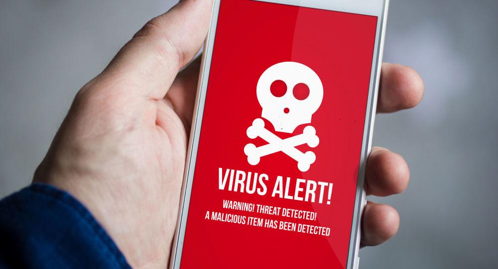 Aviso sobre malware na tela de um smartphone