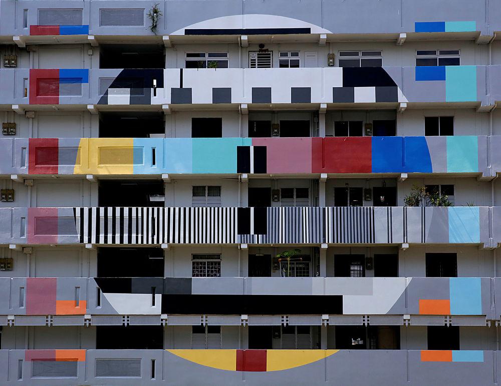 Prédio residencial colorido em Singapura.